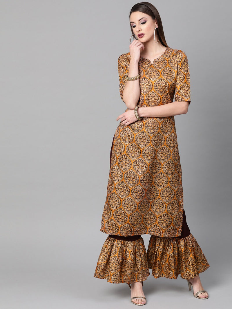 Multi Chanderi Printed Straight Kurta With Frill Palazzo