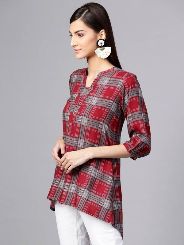 Red Check Rayon Aline High Low Kurti