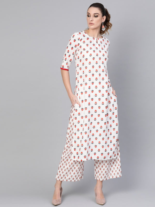 White Rayon Block Printed Straight Kurta
