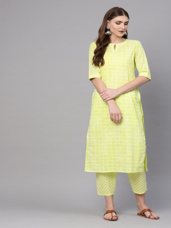 Yellow Cotton Printed Straight Kurta With Yellow Cotton Printed Trouser With Both Side Pocket