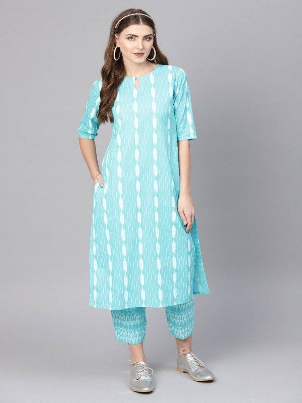 Blue Cotton Printed Straight Kurta With Blue Cotton Printed Trouser With Both Side Pocket