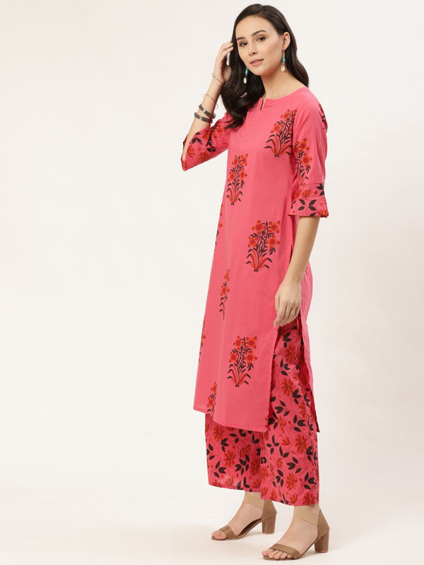 Pink Printed Straight Kurta With Palazzo