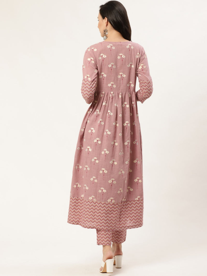 Purple Block Printed Anarkali Kurta With Printed Trouser