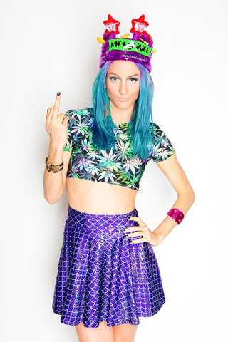 Purple Mermaid Skater Skirt (Medium)
