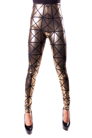 Gold & Black Disco Leggings