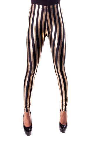 Black & Gold Stripe Leggings