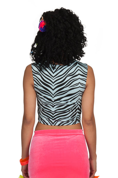 Baby Blue Zebra Crop Top