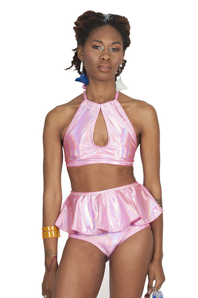 Bubblegum Peplum Swim Bottom