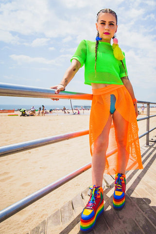 Neon Orange Mesh Open Skirt