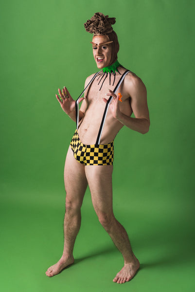 Yellow Checker Mens Speedo Suspender Shorts