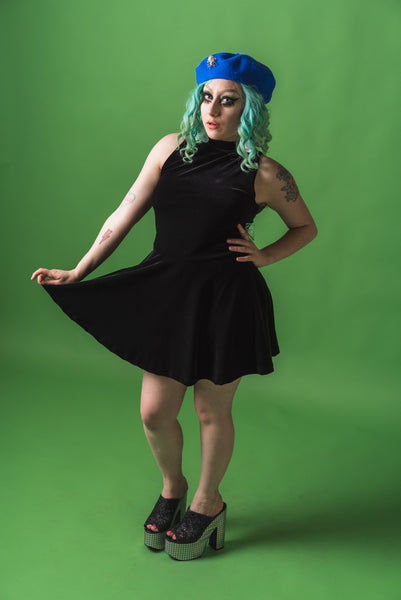 Black Velvet Skater Dress (Large)