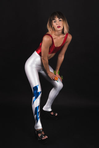 Silver Ziggy Stardust Leggings