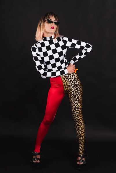 Mod Squad Checker Long Sleeve Crop Top