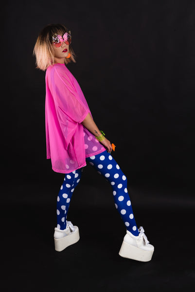 Blue White Polka Dot Leggings