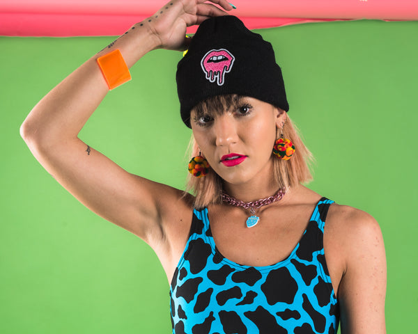 Neon Orange Drippy Lips Beanie