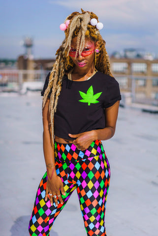 Black Weed Crop Top