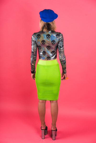 Neon Green Mesh Pencil Skirt (Small)