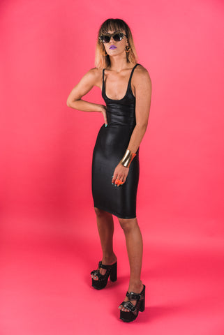 Black Leather-Look Bodycon Dress