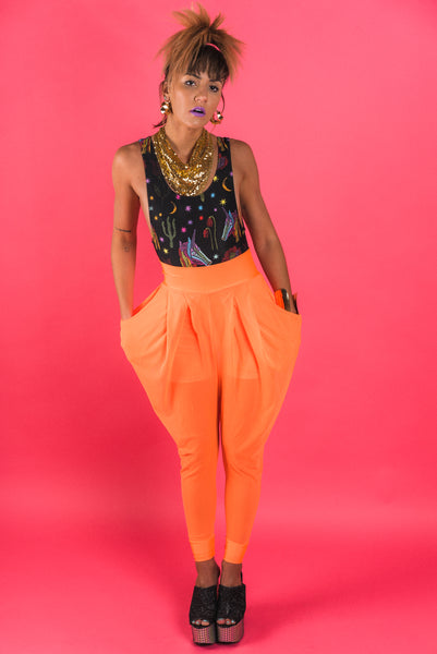 Neon Orange Sheer Harem Pants