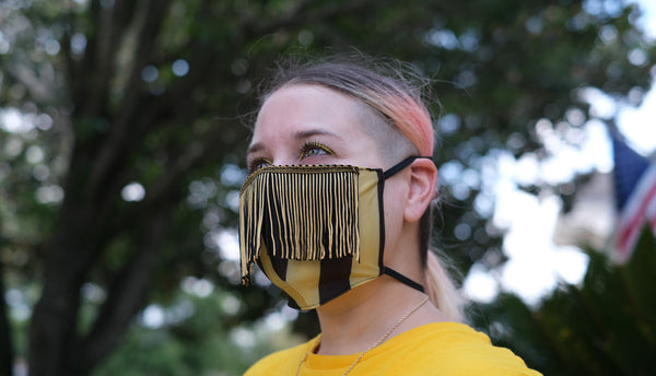 Black & Gold Stripe Fringe Face Mask