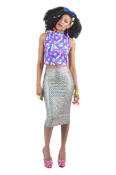 Silver Mermaid Pencil Skirt