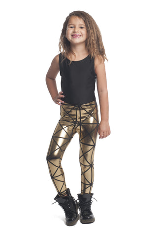 Gold & Black Disco Kids Leggings