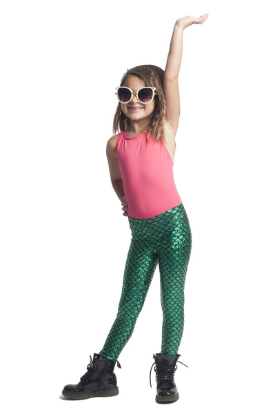 Green Mermaid Kids Leggings