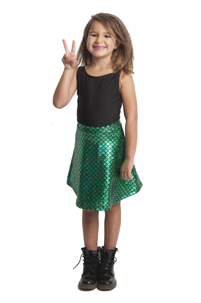 Green Mermaid Kids Skater Skirt