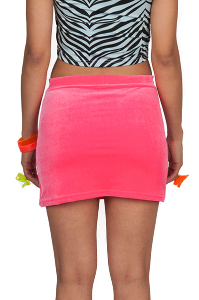 Hot Pink Velvet Mini Skirt