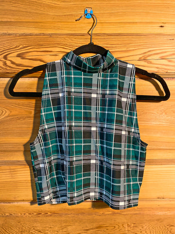 Green Plaid Turtleneck Crop Top (Medium)