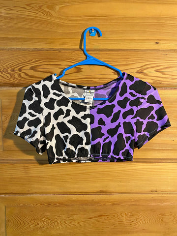 Purple & White Cow Swim Crop (Small)