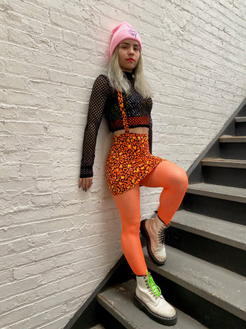 Orange Leopard Suspender Mini Skirt