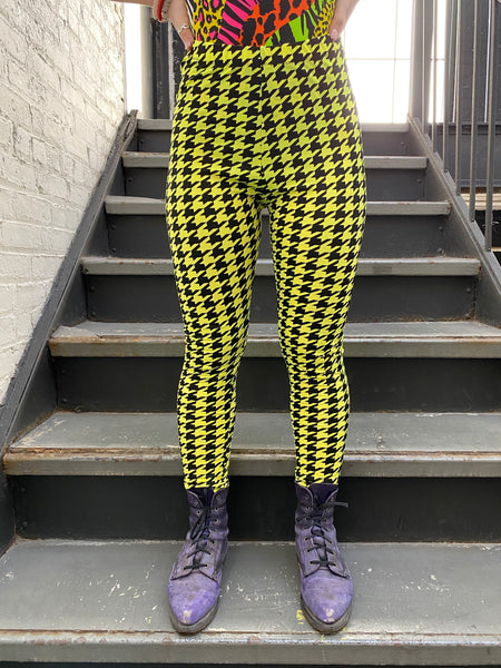 Yellow Houndstooth Leggings