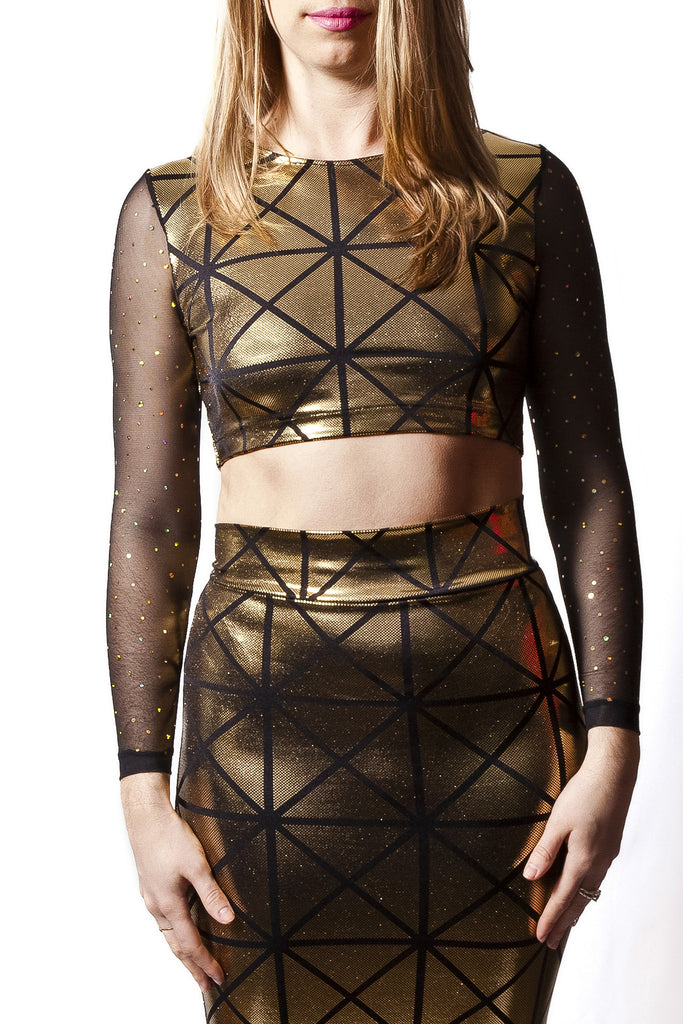 Black & Gold Disco Long Sleeve Crop Top