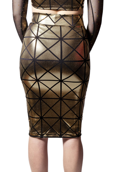 Gold & Black Disco Pencil Skirt