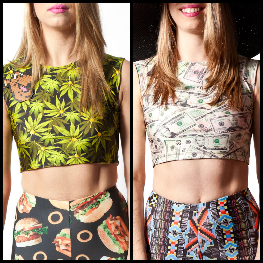 OG Kush & Money Printed Reversible Crop Top