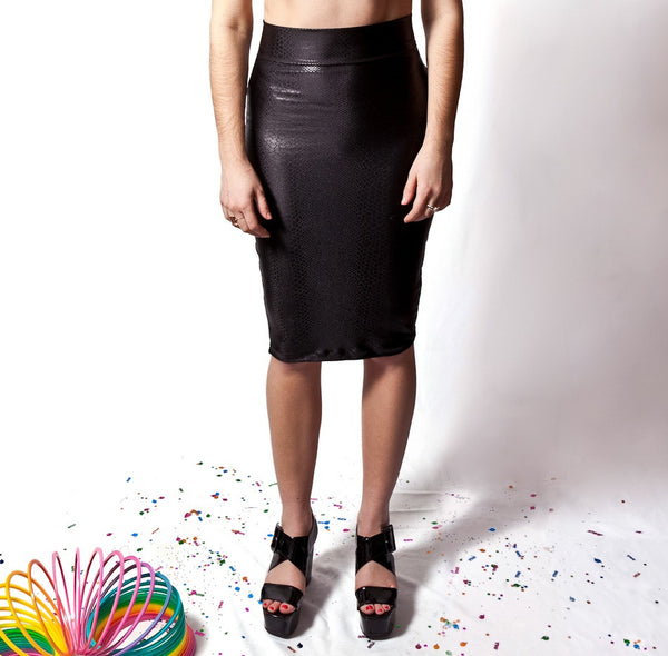 Black Snake Pencil Skirt