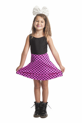 Pink & Black Polka Dot Kids Skater Skirt