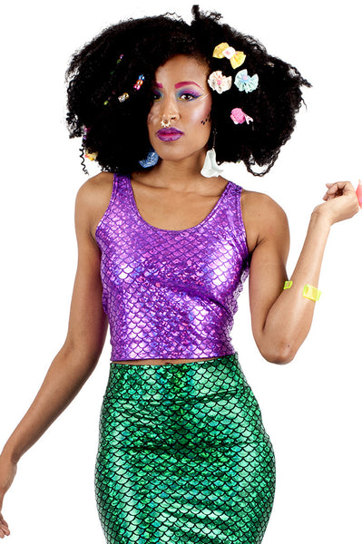 Purple Mermaid Tank Crop Top