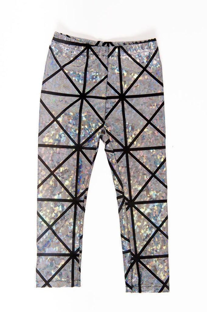Silver & Black Disco Kids Leggings