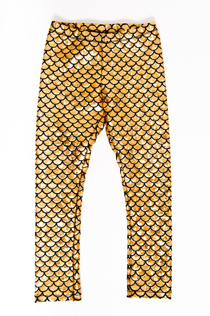 Gold Mermaid Kids Leggings