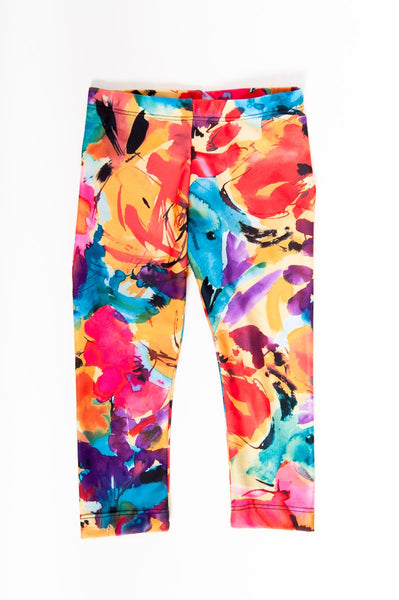 Yellow Floral Kids Leggings