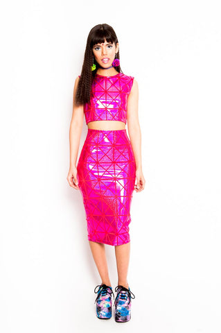 Pink Disco Pencil Skirt (Small)