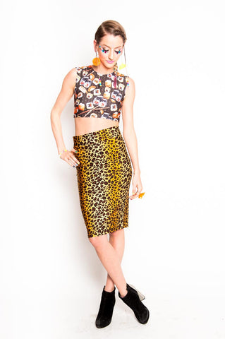 Leopard Pencil Skirt (Small)