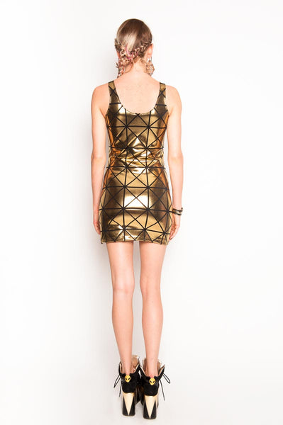 Gold & Black Disco Tank Dress