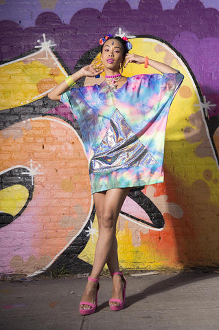 Rainbow Tie Dye Shirt Dress