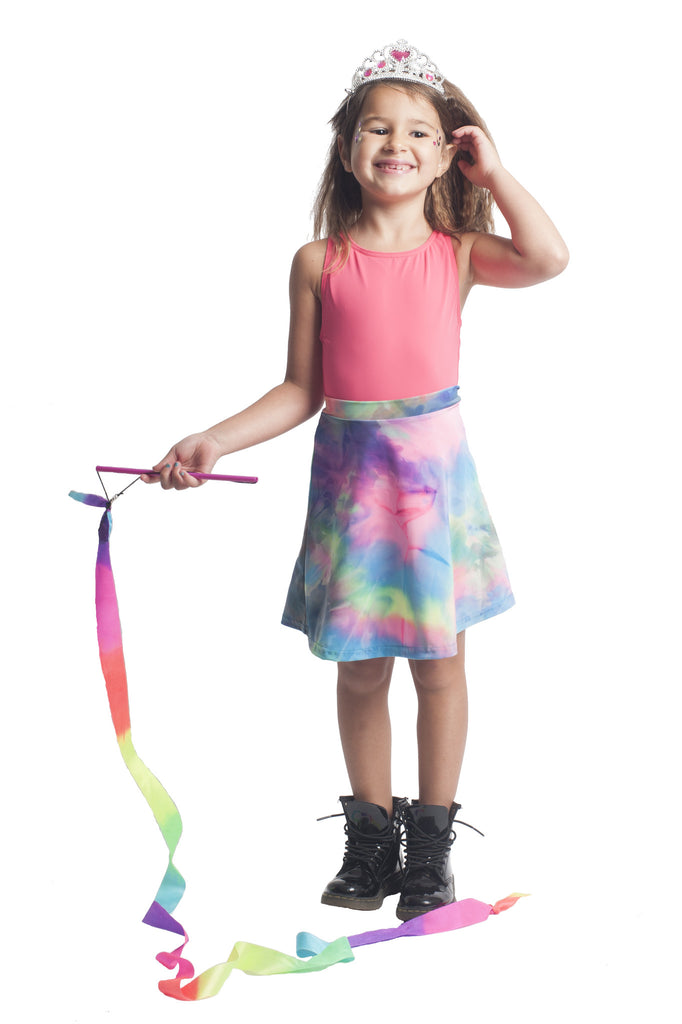 Rainbow Tie Dye Kids Skater Skirt