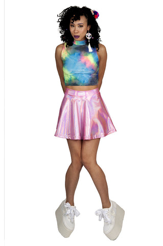 Rainbow Tie Dye Turtleneck Crop Top