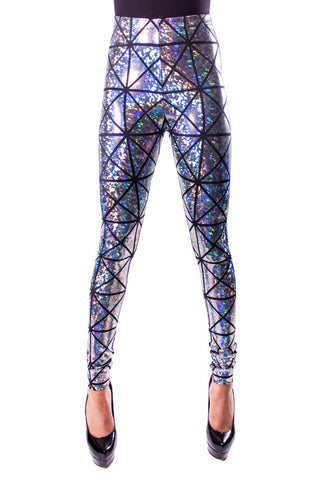 Silver & Black Disco Leggings