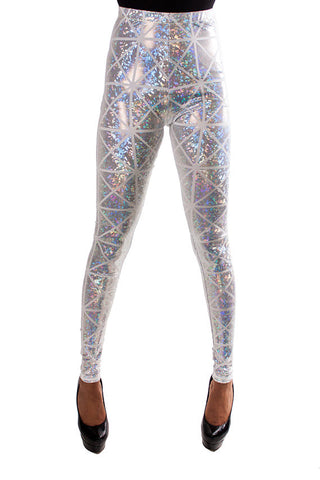 Silver & White Disco Leggings